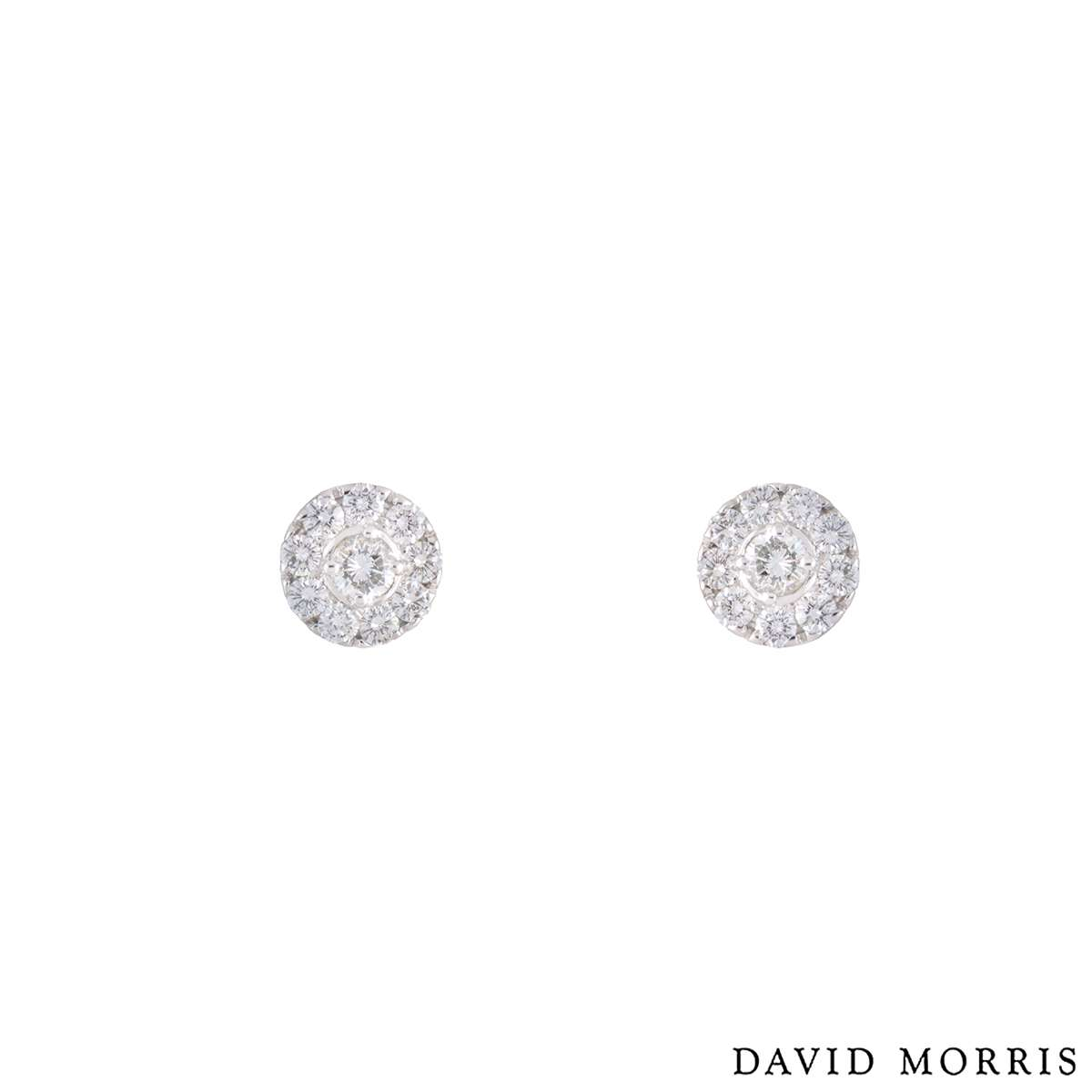 568e7c1f48d452 David Morris 18k White Gold Diamond Cluster Earrings 1.14ct - Rich Diamonds  Of Bond Street